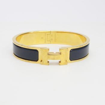 "Hermes ""Clic H"" 14kt GP 36.5g Bracelet"