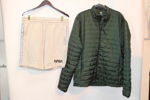 H&M Green Sport Jacket Size XL And Divided Tan Nasa Shorts Size L