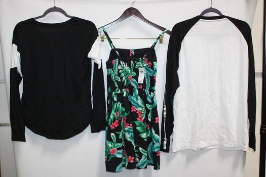 Hollister Black Floral Dress Size S, Hollister Black Long-Sleeve Shirt Size S, And Puma Black And White Long-Sleeve T-Shirt Size