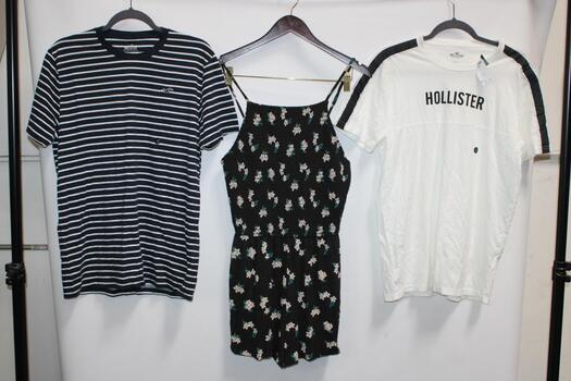 Hollister Black Floral Romper Size M, Hollister Blue And White Striped T-Shirt Size L, And Hollister Black And White T-Shirt Siz