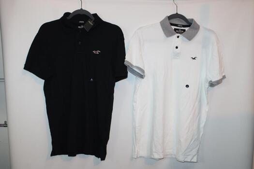 Hollister Black Short Sleeve Collared Shirt Size M And Two Hollister White Short Sleeve Collared Shirts Size L