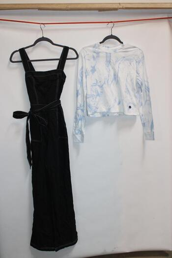 Hollister Black Sleeveless Romper Size XS And Hollister Blue And White Tie-Dye Long-Sleeve T-Shirt Size XS