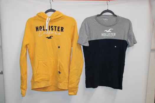 Hollister Yellow Sweatshirt Size S And Hollister Gray And Blue T-Shirt Size S