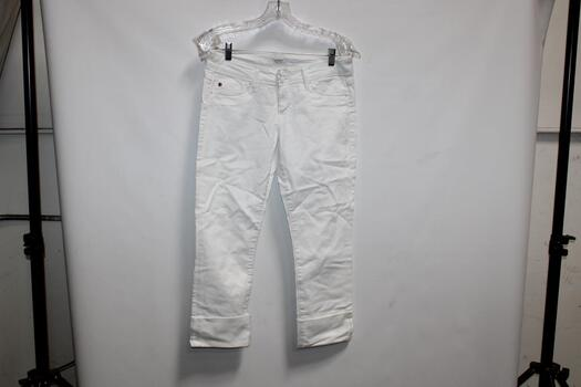 Hudson  White Crop Ginny Straight With Cuff Jeans