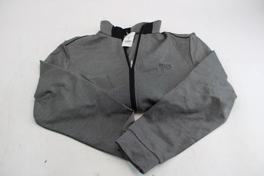 Hugo Boss Men's Gray Speckle Track Jacket; Size Large