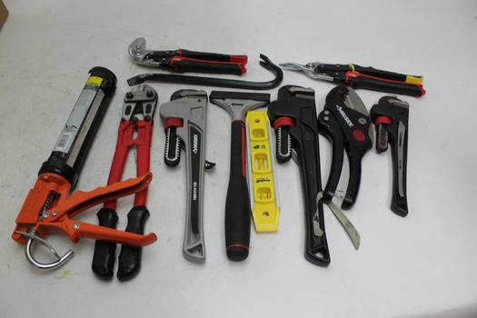 """Husky 14"""" Pipe Wrenches, Workforce Caulk Gun And More Various Tools"""