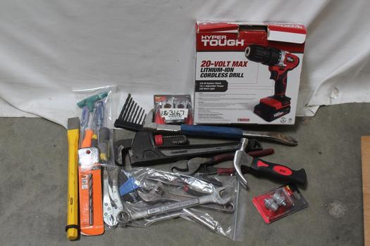 """Hyper Tough Cordless Drill, 36"""" Bolt Cutter And More Tools, 10+ Pieces"""