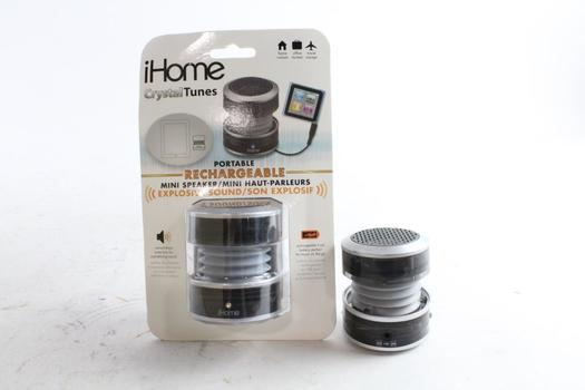 IHome Portable Rechargeable Mini Speakers, 2 Pieces