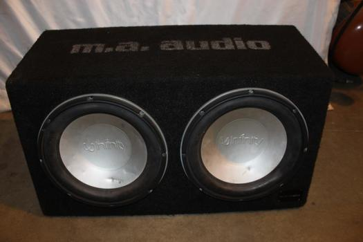 Infinity Twin Car Speakers And M.A. Audio M1286i Amplifier And Speakerbox