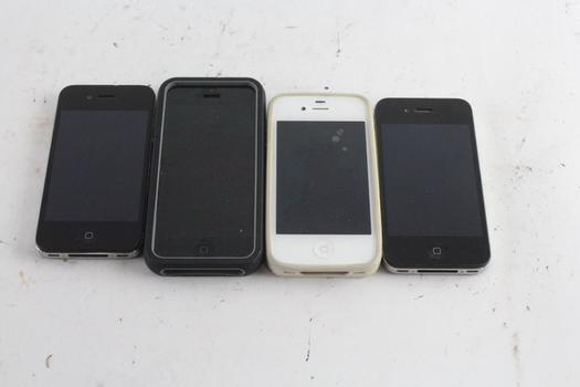 Iphone Cell Phone Lot, 4 Pieces, Sold For Parts