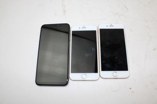 IPhone Lot, 3 Pieces, Sold For Parts