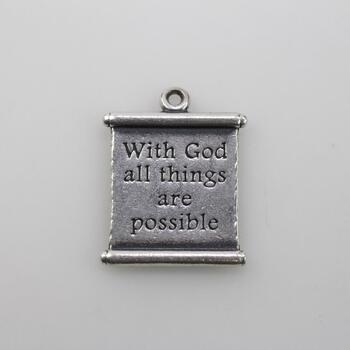 "James Avery Sterling Silver ""All Things Are Possible"" Scroll Charm"