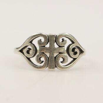 """James Avery Sterling Silver """"Scroll Cross"""" Ring"""