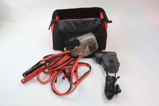 Jumper Cables, Portable Air Compressor, & More In Bridgestone Bag