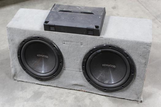 Kenwood Twin Car Speakers, Amplifier And Speakerbox