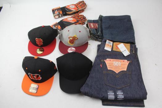 Levi & Arizona Jean Mens Pants, Assorted Hats, & More; 6 Pieces