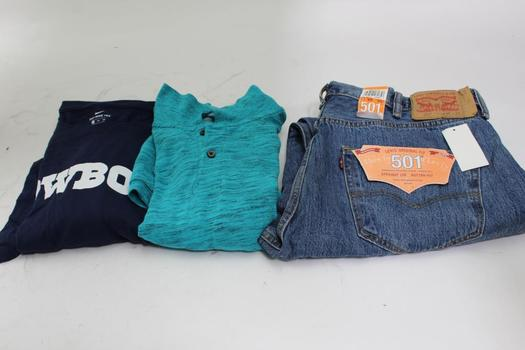 Levis 501 Jeans, Nike, Old Navy Shirts, 3 Pieces