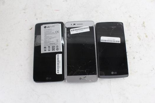 LG Cell Phone Lot, 3 Pieces, Sold For Parts