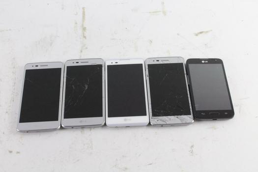 LG Cell Phone Lot, 5 Pieces, Sold For Parts