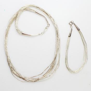Liquid Silver Necklace And Bracelet, 11.37g