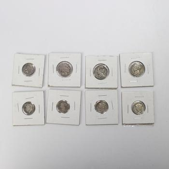 Lot Of 8 US Coins, Includes 4 Silver Coins