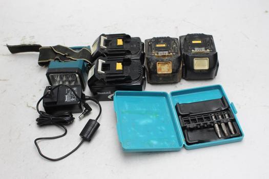 Makita 18V Batteries, Led Flashlight: 5+ Items