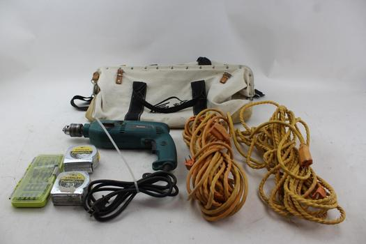 Makita Hp2040 Hammer Drill, Extension Cords, & More In Ox Duffle Bag; 6 Pieces