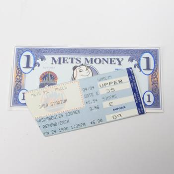 Mets Vs. Phil Stub And A One Dollar Mets Money For Shea Stadium