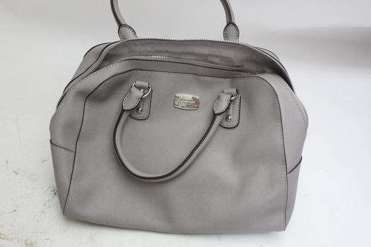 Michael Kors Saffiano Pearl Grey Leather Large Satchel Purse