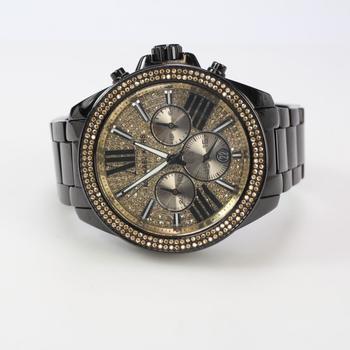 Michael Kors Wren Black Watch With Clear Stones