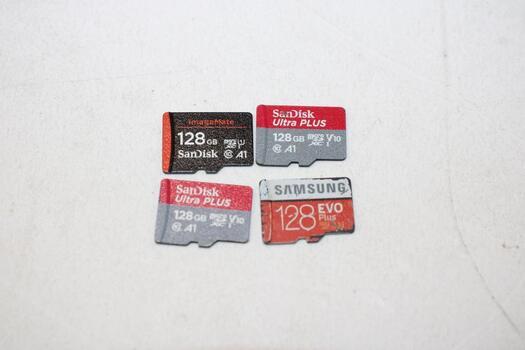 MicroSD Memory Cards, 128GB, Lot Of 4