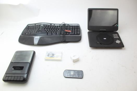 Microsoft Keyboard, Cassette Recorder, Portable Dvd Player: 3 Items