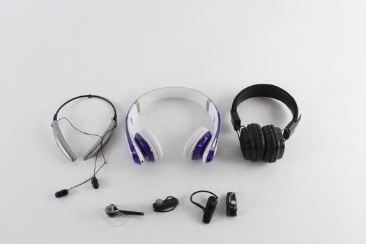 Miikey Bluetooth Headphones, Merkury Headphones, And More, 7 Pieces