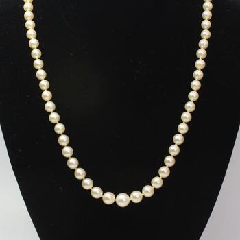 Mikimoto Pearl And Silver Necklace, 30.95g