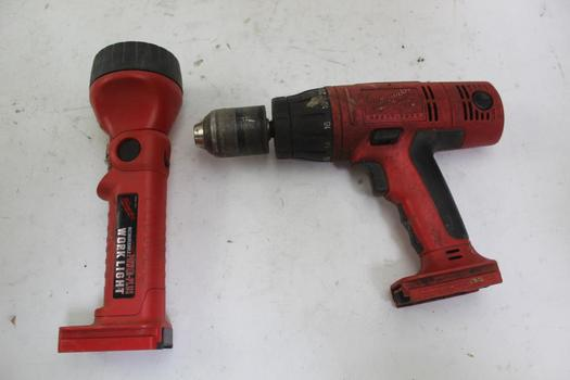 Milwaukee Drill & Worklight; 2 Pieces