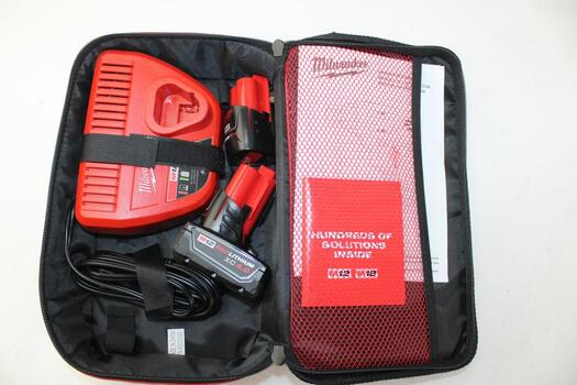 Milwaukee M12 Red Lithium Xc 4.0 Battery Case With Charger And 2 Batteries
