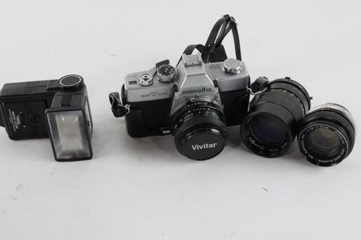 Minolta SRT 100 Camera With Case And Lenses