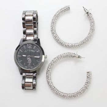 Mixed Earrings And Watch, 2 Pieces