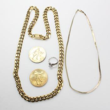 Mixed Jewelry And Coins, 5 Pieces