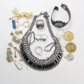 Mixed Jewelry, Watch, Coins, 15+ Pieces