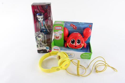 Monster High Doll, Little Tikes Catch Me Crabie Bath Toy, Beats Headphone