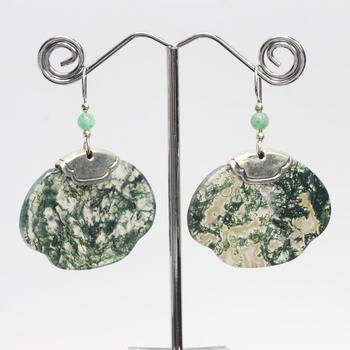 Moss Agate And Sterling Silver Full Petal Earrings