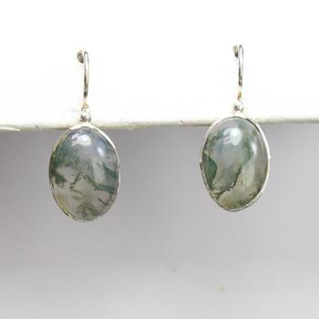 Moss Agate And Sterling Silver Oval Drop Earrings