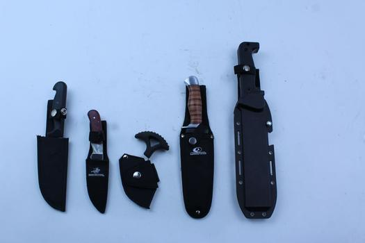 Mossy Oak, United Cutlery, & More Assorted Fixed Blade Knives In Sheaths; 5 Pieces