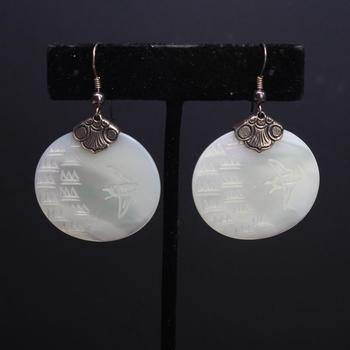 Mother Of Pearl And Sterling Silver Craved Dangle Earrings