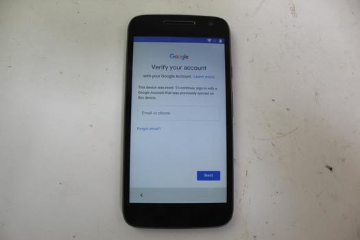 Motorola Moto G Play 4th Gen, 16GB, Unknown Carrier, Google Account Locked, Sold For Parts