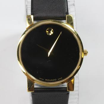 Movado Museum Watch With Black Leather Band