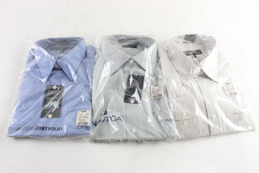 Nautica And Other Brand Collared Shirts, 17 34/35 And 17 35/36, 3 Pieces