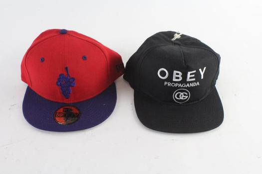 New Era And Obey Caps, 7 And Adjustable, 2 Pieces