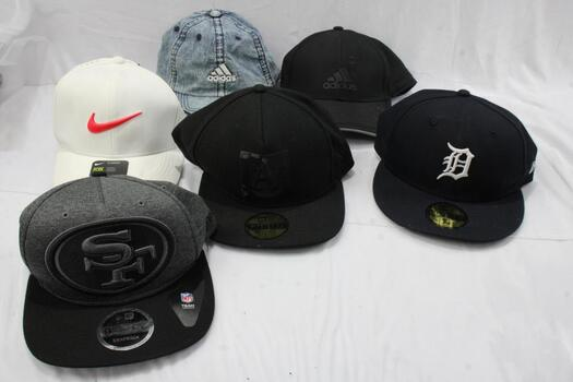 New Era, Nike, And Adidas Hats, 6 Pieces